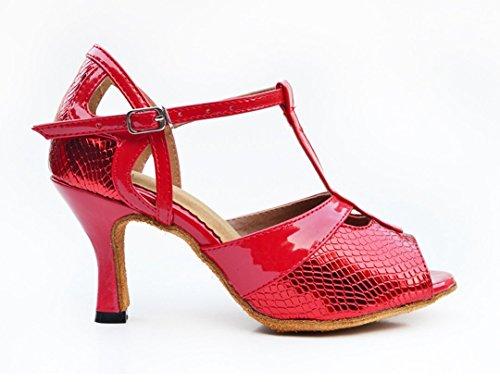 Women's Dance Wedding Modern Tango Ballroom Latin Salsa Shoes Red High Snakeskin Synthetic TDA Heels RPvqgwgd