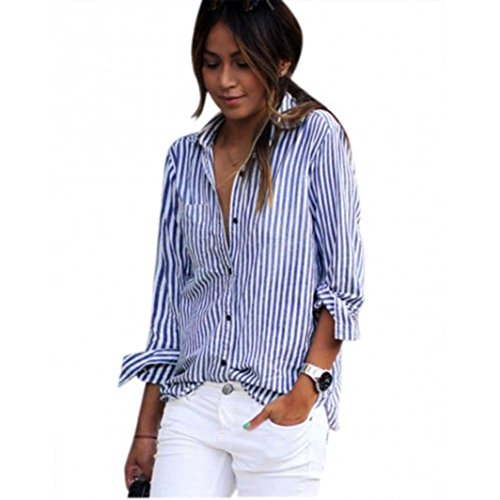 Nevera Women Striped Long Sleeve Loose V Neck Blouse Casual Ladies T Shirt Tops