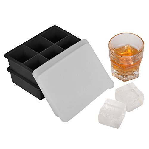 Large Square Tray (Whiskey Ice Cube Trays, 2 Pack Silicone Square Ice Mold with Lids, No-Spill Easy Release 2-Inch Large Square Cube Molds)