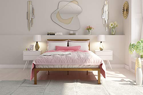 Signature Sleep Modern Metal Platform Bed Frame with Headboard and Under Bed Storage, Gold, Full