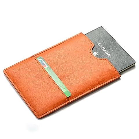 XeYOU Passport Holder Cover - Ultra Slim Premium Vegan Leather Travel Wallet Case Cover (Orange) (Blackberry Passport Clip)