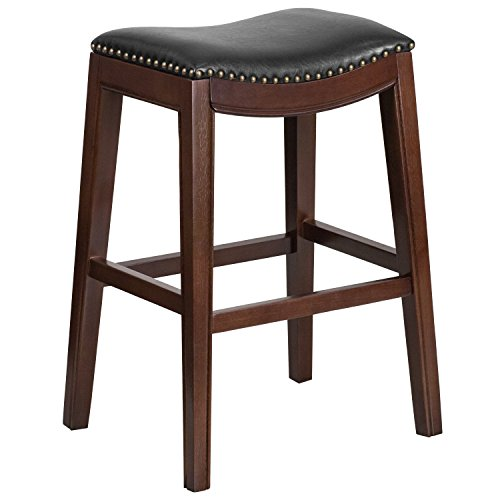 (MFO 30'' High Backless Cappuccino Wood Barstool with Black Leather Seat)
