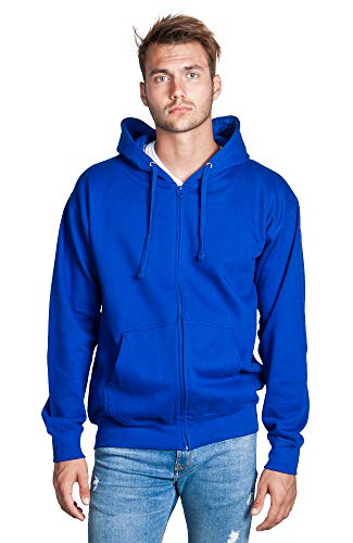 Zeratova Stylish Full Zip Up Hoodie for Men's Boys- Pullover Active Ecosmart Jacket with Long Sleeves, Fleece Lining & Pockets - Zippered Sweatshirt for Sports & Casual Grab Outfits-Royal Blue, XXXXXL