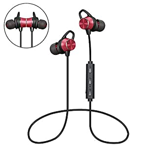 Auriculares Bluetooth Magnéticos, Auriculares Deportivos Inalámbricos con Micrófono, IPX4 Impermeable HD Estéreo Auriculares In Ear Auriculares para Correr, Leyendo, Caminar (Rojo)