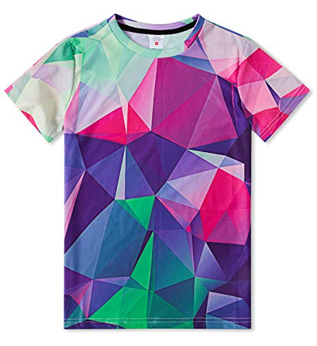 (TUONROAD Youth Boys Double-Needle Sleeves Tech T-Shirt Cute Geometric Diamond Tees Multcolor Double-Needle Performance Turquoise Shirts 14-16 Years)