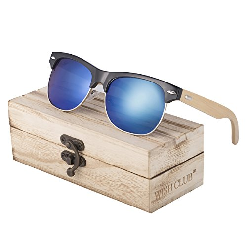 WISH CLUB Half Frame Handmade Wood Temple Square Wayfarer Sunglasses UV Lenses Club Master Classical Style for Women and Men Adults Wooden Bamboo Vintage Light Retro Sun Glasses with Box - Wooden Sunglasses Make