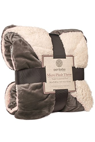 Genteele Super Soft Luxurious Sherpa Throw Blanket, 50