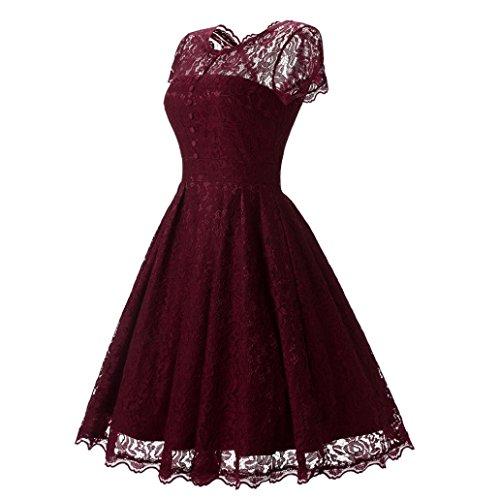 Rojo de manga corta largos de de largos noche de Vestidos Vestido honor Vestido encaje Mujer coctel mujer Señoras Amlaiworld bodas Dama para fiesta Vintage Swing vestidos floral pnxqFAc