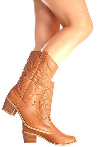 Ositos FAUX LEATHER MATERIAL STITCHED DESIGN CASUAL KNEE HIGH COWBOY BOOTS 7 tan