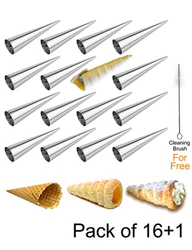 Cream Horn Molds EURICA 5-inch Large Size Cream Horn Forms Pack of 16 Cannoli Tubes Ice Cream Mold Stainless Steel Lady Lock Puff Pastry Cream Horn Mold Waffle Cone Pastry Roll Horn Croissant Mold