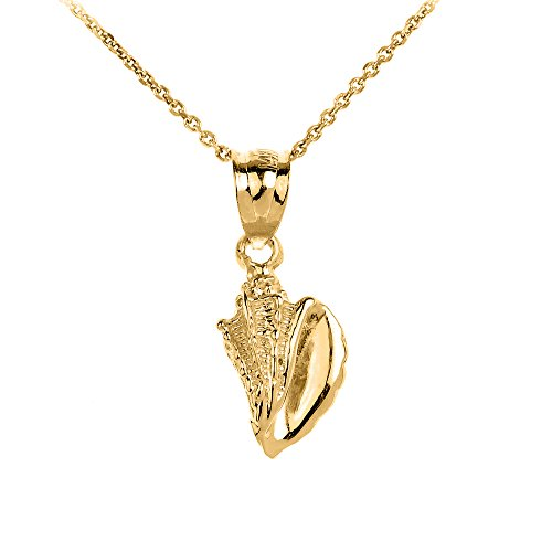 Dainty 14k Yellow Gold SeaShell Charm Pendant Necklace, 16