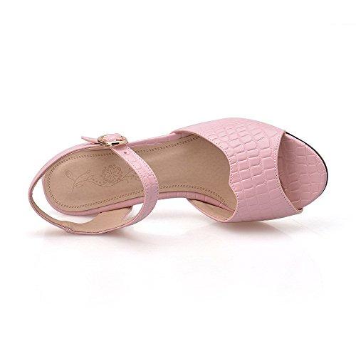 AllhqFashion Women's Buckle Open Toe Kitten-Heels PU Solid Sandals Pink LFCFjW