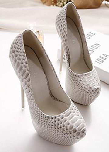 a584d5e68a7 Aisun Womens Sexy Nightclub Snake Pattern Round Toe Hidden Platform Dressy  Slip On Stiletto Super High ...