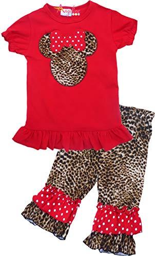 Toddler Little Girls Disney Cartoon Minnie Mouse Leopard Short Set 3T/M