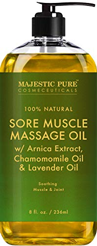 MAJESTIC PURE Arnica Sore Muscle Massage Oil for Body - Best Natural Therapy with Lavender and Chamomile Essential Oils - Warming, Relaxing, Massaging Joint Pain Relief Support - 8 fl. oz (Best Massage Oil For Her)