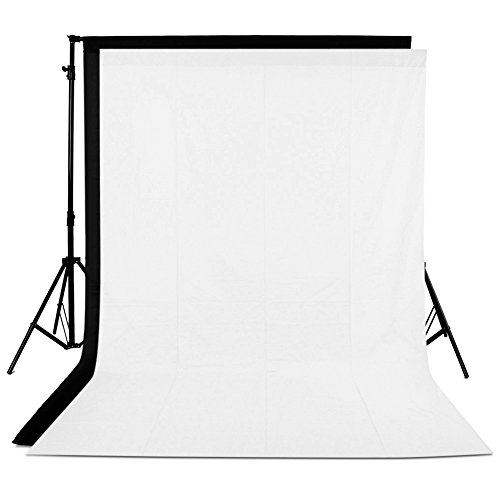Neewer 2 Pieces of 10 x 12FT /3 x 3.6M Photo Studio 100% Pure Muslin Collapsible Background Backdrops for Photography,Video and Television (Backdrops ONLY) 1x White/1x Black