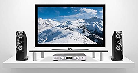 Tempered Glass TV and Computer Monitor Riser, LCD LED TV and Laptop Stand, Extra Wide (27.5 Inch) Ergonomic Flat Screen Display Mount, Desktop Shelf and Organizer, 66 lb Capacity