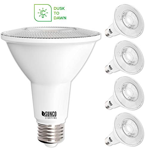Sunco Lighting 4 Pack PAR30 LED Bulb, Dusk-to-Dawn Photocell Sensor, 11W=75W, 3000K Warm White, 850 LM, Auto On/Off Security Flood Light - UL
