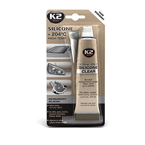K2 Clear High Temp Silicone +204C(3oz) Sealing Glass Windows Sunroofs Door Frames Plastics Fabrics Concrete Electrical Connections Engine & Driving Components Radiators Pumps (Electric Sunroof)