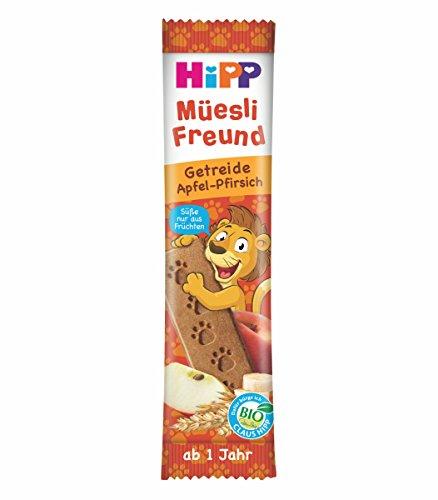HiPP Bio Riegel Mü esli-Freund Lö we Getreide & Apfel-Pfirsich, 24er Pack (24 x 20 g) DA31366
