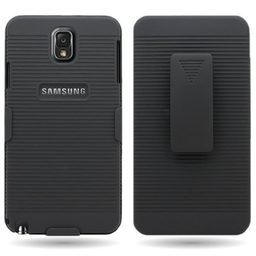 T-Mobile Samsung Galaxy Note 3 (SM-N900T) Black Hard Shell Case Combo, Cover Holster Belt Clip with Kickstand for Galaxy Note III](Tmobile Galaxy Note 3 Covers)