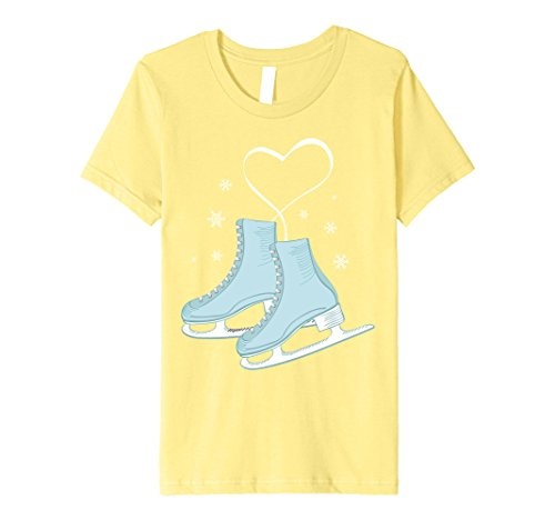 Kids Figure Ice Skating Heart Tshirt - Figure Skater Love Gift 8 Lemon (Ice Skater T-shirt)