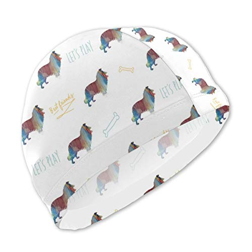 (Lycra Swim Cap with Rough Collie Long Haired Dog Print, Swimming Bathing Cap for Boys Girls Kids)