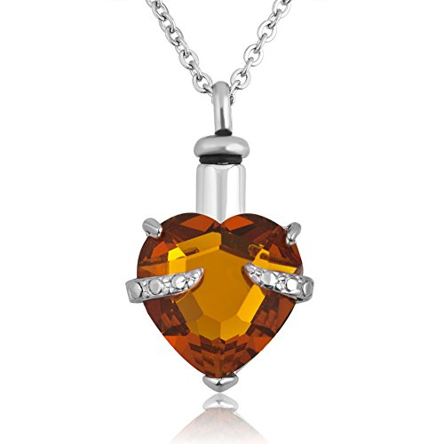 LoEnMe Jewelry Urn Necklace for Ash November Birthstone Crystal Love Heart Pendant Memorial Keepsake for Women