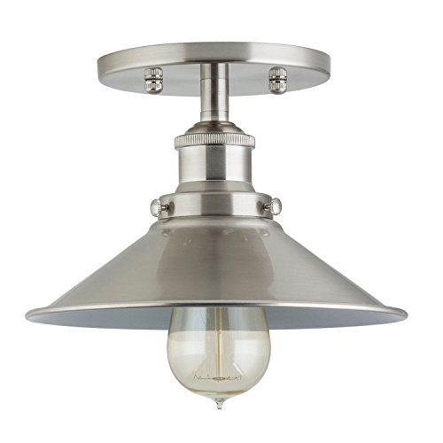 Andante Industrial Ceiling Light Fixture - Brushed Nickel - Linea di Liara LL-C407-BN (Ceiling Light Hanging From)
