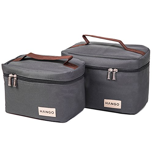 Hango Insulated Lunch Box Cooler Bag (Set of 2 Sizes), Grey