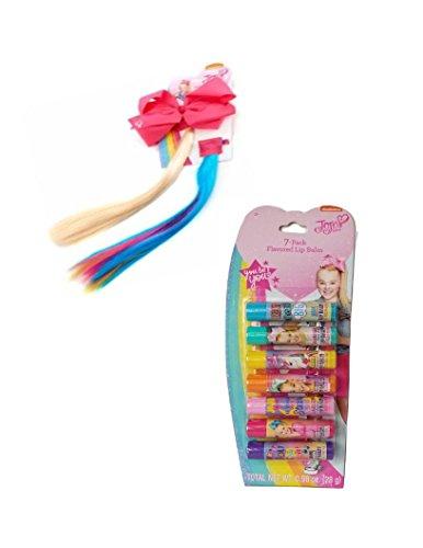 Jojo Siwa Flavored Lip Balm and JoJo Siwa Pink Bow with Blonde/Rainbow Interchangeable Faux Hair Ponytail