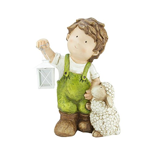Northlight QQ76173 Young Boy Gnome with Lamb & Lantern Outdoor Garden Patio Figure Statuary and Fountains, 16.5