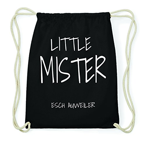 JOllify ESCH AUWEILER Hipster Turnbeutel Tasche Rucksack aus Baumwolle - Farbe: schwarz Design: Little Mister YMWNKA