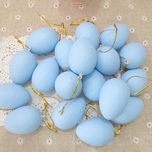 HeroStore 20pcs Easter Eggs Plastic Hanging Easter Decoration For Home Happy Easter Decoration DIY Painting Easter Gift For s -