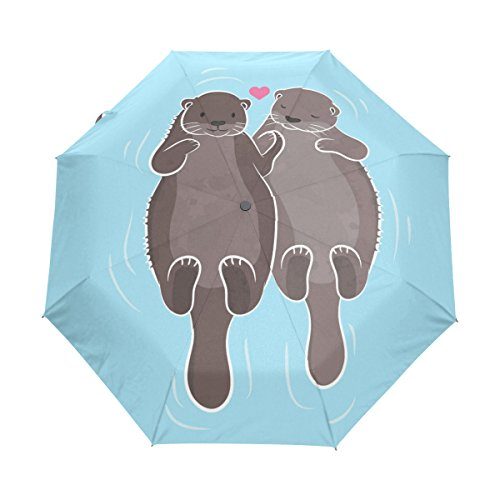Naanle Couple Otter Water Auto Open Close Foldable Windproof Travel Umbrella by Naanle