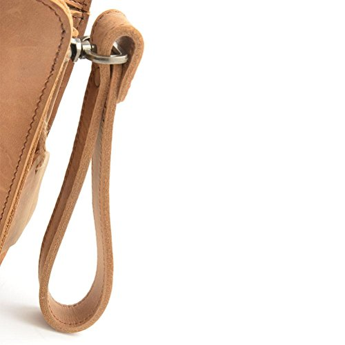 Bolso Embrague Tamaño Brown Mano Brown Con Bolsos De De Para De Cuero GTUKO Gran De Bolso Cheques De De Genuino Hombres Negocios Cremallera xqg81nWSWU