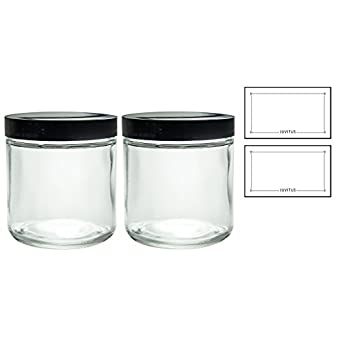 Large Clear Thick Glass Straight Sided Jar - 16 oz / 480 ml (2 pack) + Labels