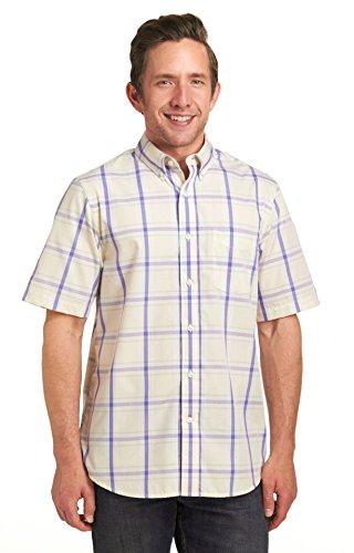 Dockers Men's No Wrinkle Exploded Plaid Short Sleeve Shirt, Oatmeal, XLarge
