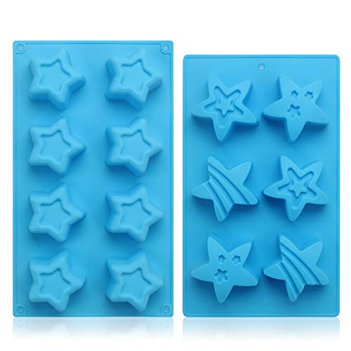 Chocolate & Candy Molds, Beasea 2pcs Star Shaped Silicone Mold for Jello Soap Non Stick BPA Free Ice Cube Trays Mini Ice Maker ()