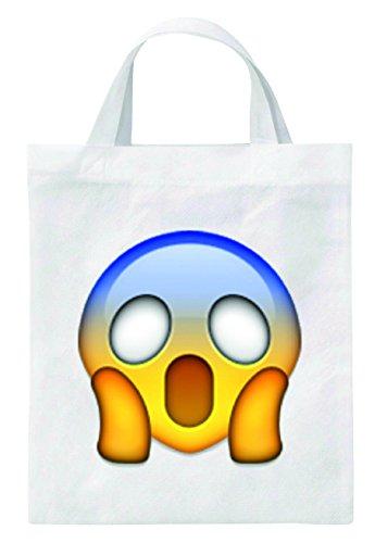 Tote Bag 40x38 Con La Paura Della Borsa Di Juta Faccia Congelata - Borsa Girevole - Sacchetto Di Scuola - Borsa Fitness - Shopping Bag Smiley Emoji Regalo Di Natale Punta Tip