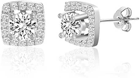 18K White Gold Over Sterling Silver 4 Prong Center Cubic Zirconia Post Earrings