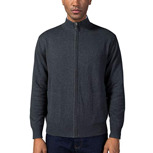 Kallspin Men's Relaxed Fit Solid Full Zip Cardigan Sweaters (Charcoal, XXL)