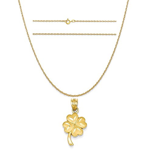 14k Yellow Gold Shamrock Charm on a 14K Yellow Gold Carded Rope Chain Necklace, 20