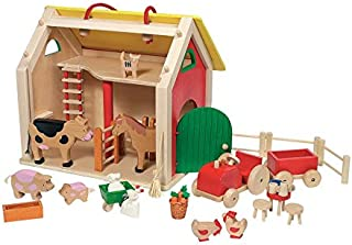 product image for Magic Cabin 31-Piece Wooden Barnyard Play Set