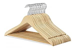 Whitmor Suit Hangers S/16, Natural Wood