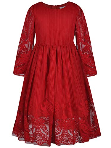 Bonny Billy Girl's Classy Embroidery Lace Maxi Flower Girl Dress 8-9 Years Red -