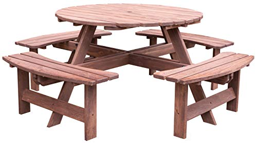 Gardenised QI003468L.BR Outdoor Wooden Patio Deck Garden Round Picnic Table for 8, Brown