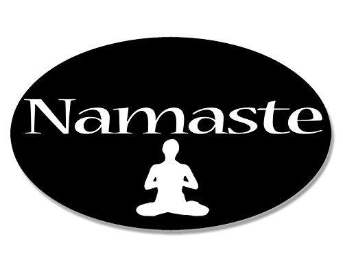MAGNET Oval Namaste Magnetic Sticker (yoga pose greeting decal) (Namaste Magnet)