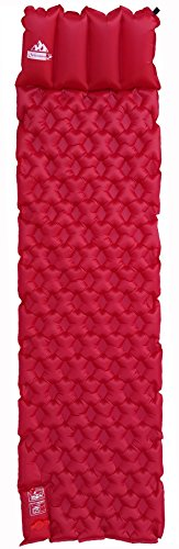OutdoorsmanLab Ultralight Sleeping Pad with Built-in Pillow and Air Pump For Camping Backpacking, Travel