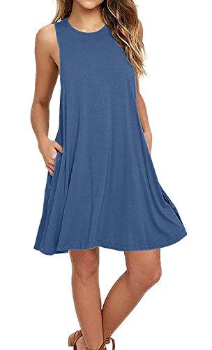 Auselily Womens Sleeveless Pockets Casual Swing T Shirt Dresses  S  Beja Blue